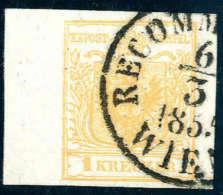 Gest. 1 Kr. Dunkelgoldgelb, Type Ib, Linker Bogenrand (7 Mm), Schön Entwertet Mit K1 RECOMM(ANDIRT) WIEN 6/3... - Stamps