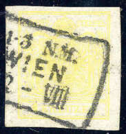 Gest. 1 Kr. Gelb, Type III, Kabinettstück Mit Wiener Schnallenstempel, Sign. Puschmann.Katalogpreis:... - Stamps