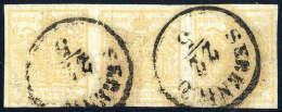 Gest. 1 Kr. Ockergelb, Type Ib, Waagerechter Pracht-Dreierstreifen Mit Doppelseitigem Druck (rückseitig Nur... - Stamps