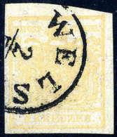 Gest. 1 Kr. Ockergelb, Type Ib Mit Doppelseitigem Druck (rücks. Vier Markenteile), K1 WELS.... - Stamps