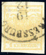 Gest. 1 Kr. Ockergelb, Type Ib, Doppelseitiger Druck, Gute Ränder, Ovaler PRESSBURG,... - Stamps