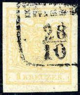 Gest. 1 Kr. Ockergelb, Type Ib, Doppelseitiger Druck Rückseitig Nur Mit 2 Andreaskreuzteilen (Fe. 45o,-), R3... - Stamps