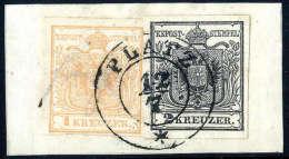 Briefst. 1 Kr. Braunorange, Type Ia Mit 2 Kr. Schwarz, Type Ia, Gute Bis Breite Ränder, Zentr. K2 PLATZ 12/7... - Stamps
