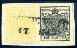 Briefst. Mischfrankatur 1 Kr. Kadmiumgelb, Type III Mit Lombardei-Venetien 10 C. Schwarz, Type Ib, Beide Mit Guten... - Stamps