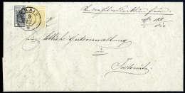 1 Kr. Gelbocker, Type Ib, Mit 2 Kr. Schwarz, Type Ib, Auf Brief (Falte Geglättet), übergehend Entwertet... - Stamps