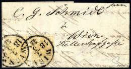 1 Kr. Gelbocker, Type III, Waagerechtes Kab.-Paar, Voll- Bis Breitrandig Auf Kleinem Ortsbrief In Gratz... - Stamps