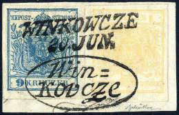 Briefst. 1 Kr. Ockergelb Mit 9 Kr. Hellblau, Beide Type Ia, Gute Bis Breite Ränder, Zusammen Auf... - Stamps