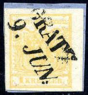 Briefst. 1 Kr. Ockergelb, Type III, Rechtes Randstück (3,5 Mm) Auf Briefstück Mit L2 GRATZ 9. JUN.... - Stamps