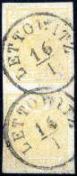 Gest. 1 Kr. Gelb, Type III, Senkrechtes Kabinettpaar, Jede Marke Mit Zentr. K1 LETTOWITZ 16/1... - Stamps