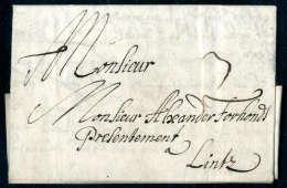 1680, Vollständiger Faltbrief Von Wien Nach Linz, Rücks. Kleiner Klappenfehler. Taxiert Mit 3 Kr. - Stamps