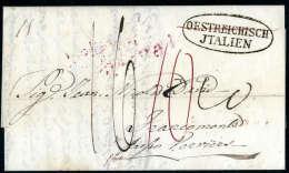 OESTEREICHISCH JTALIEN Im Oval (OESTEREICHISCH Gestrichen) Auf Faltbrief (1841) Von Palermo Nach Belgien.... - Stamps