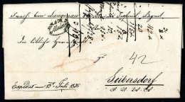 Schwarzer K.K.ö.M.P.Mainz Deutlich Auf Vollständigem Faltbrief (1835) Nach Leibersdorf. - Stamps