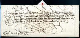 Kaiserbrief, Ferdinand III (1608-1657), Vollst. Faltbrief Von Wien 1654 An Graf Siegmund Von Lietzendorff. - Stamps