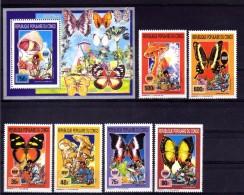 "CONGO  1990  MNH  -  "" PAPILLONS + CHAMPIGNONS / BUTTERFLIES + MUSHROOMS ""  -  6 VAL + 1 BLOC - Congo - Brazzaville"