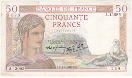 Rare BILLET  50 FRANCS CERES Du 4-4-1940 * A13085 228 * état TB - 50 F 1934-1940 ''Cérès''