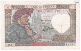 FRANCE : BILLET  50 FRANCS JACQUES COEUR Du 13-6-1940 -  (2 Scan) - 1871-1952 Circulated During XXth