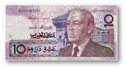 MOROCCO - 10 DIRHAMS - 1987 ( Ca. 1991 ) - Pick 63.b - Sign. 11 - King Hassan II - Kingdom - Maroc - Bank AL-MAGHRIB - Maroc