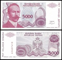 Bosnia Herzegovina 5000 DINARA 1993 P 149 UNC  BOSNIE Bosnien Herzegowina - Chypre