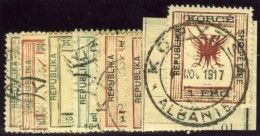 Albania, May 1917. Scott #62-68. Stanley Gibbons #75-81. Complete Set, Mixed Used And Mint. - Albania