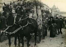 020916 - 69 LYON PHOTO E BRUCHON - Début XX ème - 06 NICE Carnaval Voiture Fleurie De La Comtesse De Mongrillon - Cheval - Luoghi