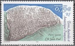 TAAF 2002 Yvert 332 Neuf ** Cote (2015) 3.20 Euro Pierre Gravée De L´île Saint-Paul - Terres Australes Et Antarctiques Françaises (TAAF)