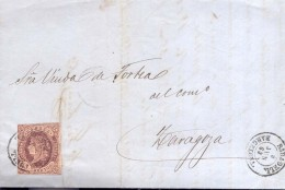 Año 1862 Edifil 58 4c Isabel II  Carta  Matasellos Sabadell Barcelona - 1850-68 Königreich: Isabella II.