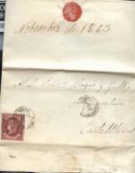 Año 1862 Edifil 58 4c Isabel II  Carta  Matasellos Igualada Barcelona - 1850-68 Königreich: Isabella II.