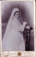 LOUVAIN Communiante Photo CDV Format Cabinet Par Ed. MORREN, Vers 1890-1900 - Antiche (ante 1900)