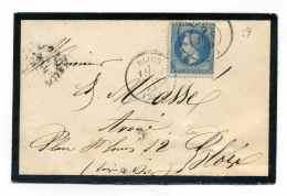 Ccahet De Passe 3107 Sur TP  YT N°29   +  T16 DIJON / Dept 20 Côte D'Or / 1869 - Marcophilie (Lettres)