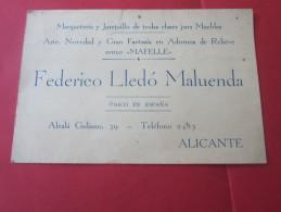 ALICANTE Tarjeta De Visita PUBLICITARIO ANTIGUO F LLEDO MALUENDA MARQUETERIA Y JUNQUILLO DE TODAS CLASES ENGALANÓ A MUEB - Tarjetas De Visita
