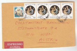 1984 Express ITALY COVER Multi RAPHAEL CHRISTMAS  RELIGIOUS ART Stamps To Austria Religion - Religious