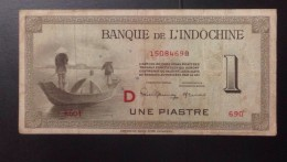 Indochine Indochina Vietnam Viet Nam Laos Cambodia 1 Piastre VF Banknote 1945 With Letter D / 02 Images - Indochine