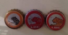 Lot Of 03 Different Laos Lao Beer ( Tiger ) Bottle Crown Cap Caps / Kronkorken / Capsule - Cerveza
