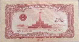 North Vietnam Viet Nam UNC 1 Dong Specimen Banknote 1958 / 2 Scan - Vietnam