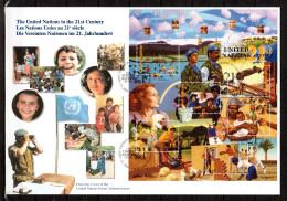 """ONU 2000 (New-York) : Belle Enveloppe 1er Jour FDC Jumbo (26 Cm X 18 Cm) """" LES NATIONS UNIES AU 21ème SIECLE """" Parf état - ONU"""