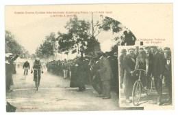 54 - Grande Course Cycliste Strasbourg - Nancy 14-15 Août 1909 - Arrivée à Jarville (Le Vainqueur Valloton Sur Peugeot) - Radsport
