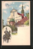 Künstler-AK Panschwitz, Kloster St. Marienstern & Wend. Osterreiter - Alemania