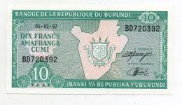 Burundi - 1997 - Banconota Da 10 Franchi - Nuova - (FDC 405) - Burundi