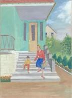 Dessin D´amateur/L RACLET/Non Encadré/Sartrouville/Années 60 / Sortie De Villa/ 1960       GRAV133 - Gouaches