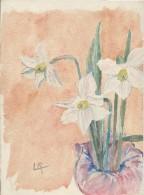 Dessin D´amateur/Gouache/L RACLET/Non Encadré/Fleurs / Narcisses/ Vers 1930    GRAV135 - Gouaches