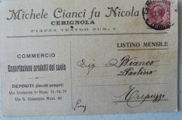 CERIGNOLA - MICHELE CIANCI FU NICOLA - COMMERCIO ESPORTAZIONE PRODOTTI DEL SUOLO 1927 X TREPUZZI - Cerignola