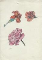 Dessin D´amateur/Plume Et Aquarelle/L RACLET/Non Encadré/Fleurs/Oeillets Et Rose/Vers 1930   GRAV146 - Altre Collezioni