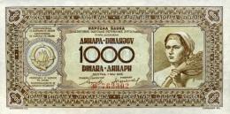 * YUGOSLAVIA 1000 DINARA 1946 P-67c UNC  [ YU67c ] - Yougoslavie