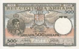 * YUGOSLAVIA 500 DINARA 1935 P-67c UNC  [ YU32 ] - Jugoslawien