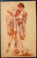 Cpa LITHO  ILLUSTRATEUR  MAUZAN COUPLE ROMAIN GREC DEBOUT AMOUREUX BAISER - Mauzan, L.A.