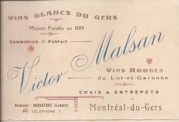 Carte Publicitaire , Géographique Etb Victor MALSAN Montréal Du Gers Commerce VINS BLANCS ROUGES Bureau ROQUEFORT Landes - Publicités