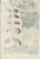 Dessin D´amateur/Crayons De Couleur/L RACLET/Non Encadré/LIMAY/ Le Vieux Pont/ 1927 GRAV155 - Dessins