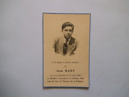 IMAGE MORTUAIRE DE JEAN BARY NE A LA LOUVIERE LE 18 JUIN 1929  ET DECEDE A LOUVAIN LE 2 OCTOBRE 1949 - Andachtsbilder