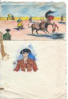 Dessin D´amateur/Gouache/L RACLET/Non Encadré/Tauromachie/Esquisses De Corrida/ Vers 1950    GRAV159 - Gouaches