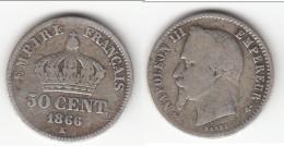 **** 50 CENTIMES 1866 K BORDEAUX  - NAPOLEON III - ARGENT - SILVER **** EN ACHAT IMMEDIAT !!! - G. 50 Centimes